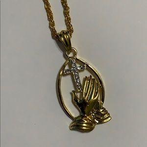 Jewelry - PRAYING HANDS & RHINESTONE CROSS NECKLACE